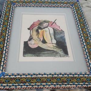 Beautiful watercolor painting in custom frame